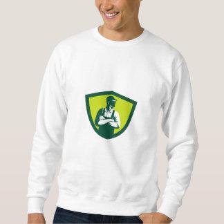 Organic Farmer Arms Folded Looking Side Crest Retr Sweatshirt