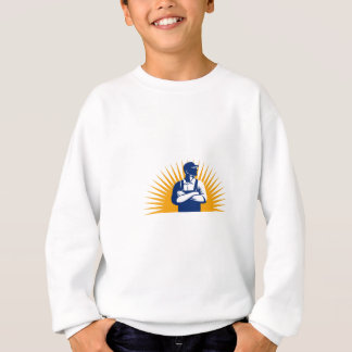 Organic Farmer Arms Folded Looking Side Sunburst R Sweatshirt