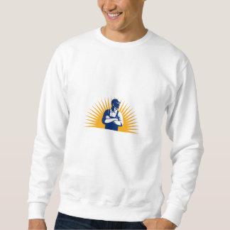 Organic Farmer Arms Folded Looking Side Sunburst R Sweatshirt