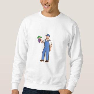 Organic Farmer Boy Grapes Standing Retro Sweatshirt