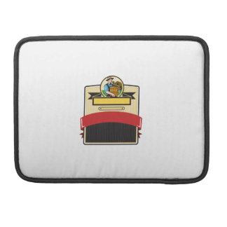 Organic Farmer Carry Basket Badge Retro Sleeve For MacBooks
