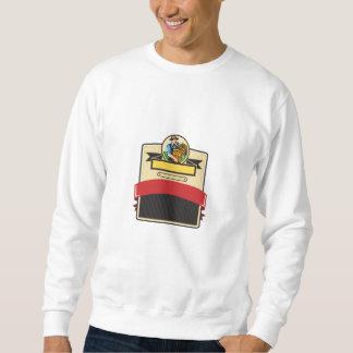 Organic Farmer Carry Basket Badge Retro Sweatshirt
