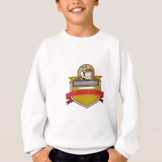 Organic Farmer Carry Basket Circle Crest Retro Sweatshirt