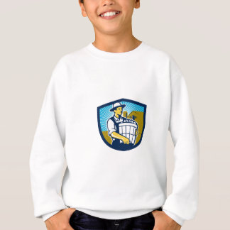 Organic Farmer Harvest Basket Crest Retro Sweatshirt