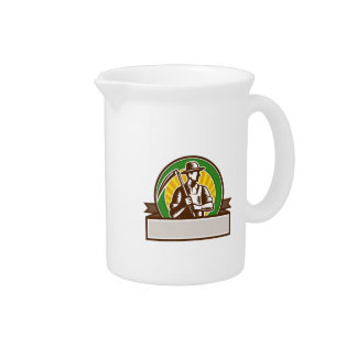 Organic Farmer Holding Scythe Circle Woodcut Beverage Pitchers