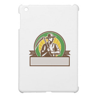 Organic Farmer Holding Scythe Circle Woodcut Case For The iPad Mini
