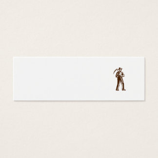 Organic Farmer Holding Scythe Woodcut Mini Business Card