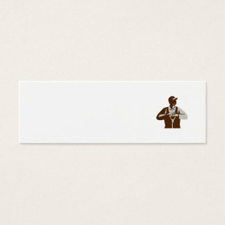 Organic Farmer Leaning Shovel Looking Up Retro Mini Business Card
