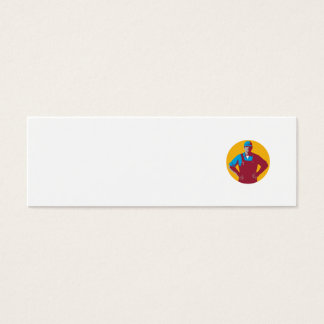Organic Farmer Overalls Akimbo Circle Retro Mini Business Card