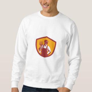 Organic Farmer Pitchfork Crest Retro Sweatshirt