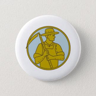 Organic Farmer Scythe Looking Side Circle Mono Lin 2 Inch Round Button