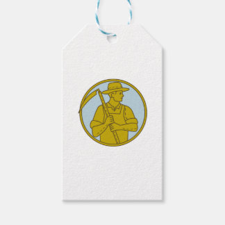 Organic Farmer Scythe Looking Side Circle Mono Lin Pack Of Gift Tags