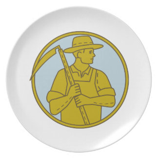Organic Farmer Scythe Looking Side Circle Mono Lin Plate