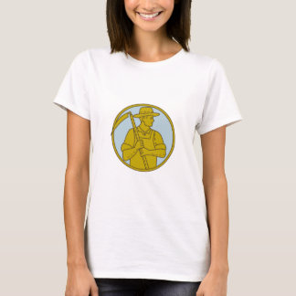 Organic Farmer Scythe Looking Side Circle Mono Lin T-Shirt