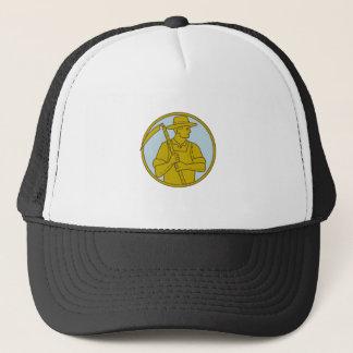 Organic Farmer Scythe Looking Side Circle Mono Lin Trucker Hat