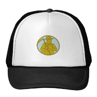 Organic Farmer Scythe Looking Side Circle Mono Lin Trucker Hat