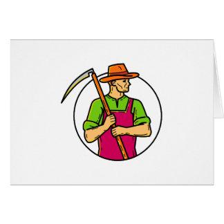 Organic Farmer Scythe Mono Line Art Card