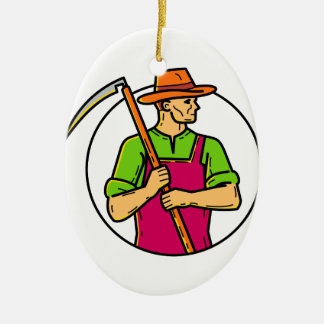 Organic Farmer Scythe Mono Line Art Ceramic Ornament
