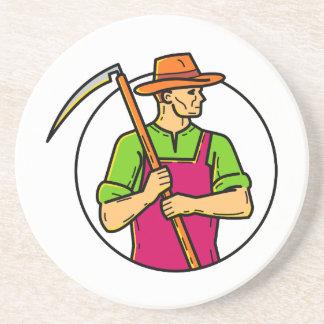 Organic Farmer Scythe Mono Line Art Coaster