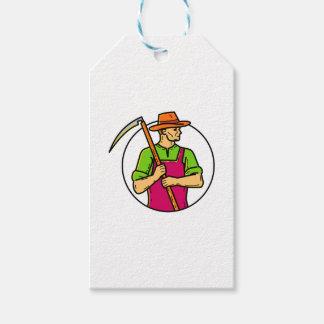 Organic Farmer Scythe Mono Line Art Gift Tags