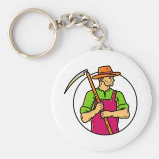 Organic Farmer Scythe Mono Line Art Keychain