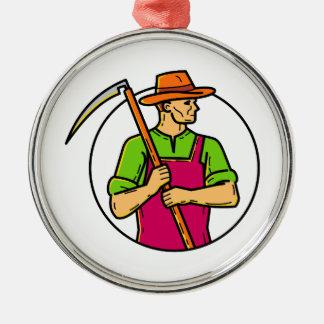Organic Farmer Scythe Mono Line Art Metal Ornament