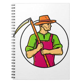 Organic Farmer Scythe Mono Line Art Notebook