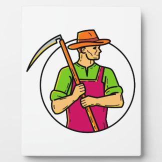 Organic Farmer Scythe Mono Line Art Plaque