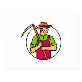 Organic Farmer Scythe Mono Line Art Postcard