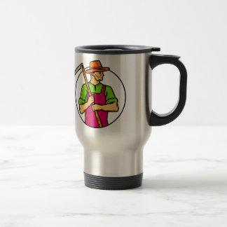 Organic Farmer Scythe Mono Line Art Travel Mug