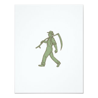 Organic Farmer Scythe Walking Mono Line Card