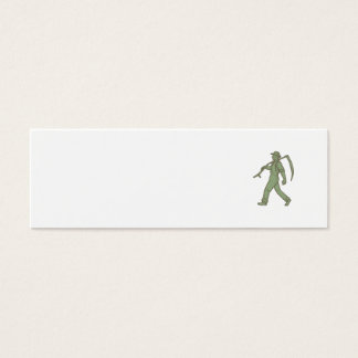 Organic Farmer Scythe Walking Mono Line Mini Business Card
