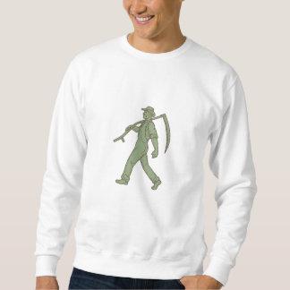 Organic Farmer Scythe Walking Mono Line Sweatshirt