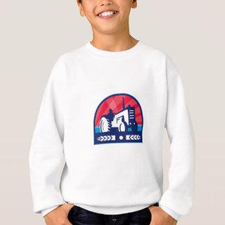 Organic Farmer Tractor Wheat Crest Retro Sweatshirt