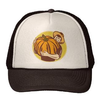 Organic Farmer With Giant Pumpkin Retro Woodcut Hat