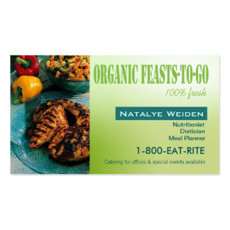 Organic Feasts To Go Nutritionist Food Stylist Business Card