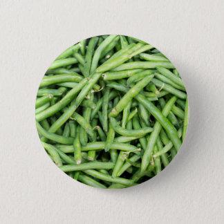 Organic Green Snap Beans Veggie Vegitarian 2 Inch Round Button