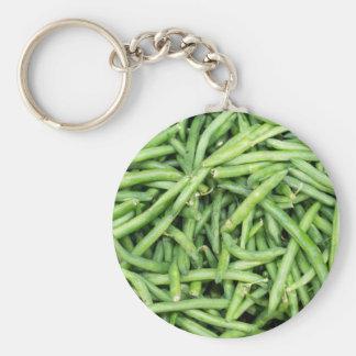 Organic Green Snap Beans Veggie Vegitarian Basic Round Button Keychain