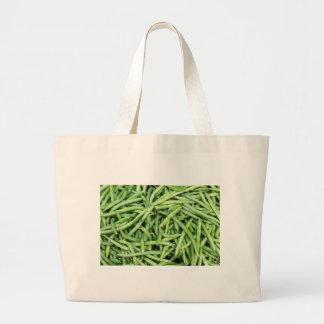 Organic Green Snap Beans Veggie Vegitarian Large Tote Bag