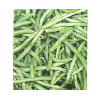 Organic Green Snap Beans Veggie Vegitarian Notepads