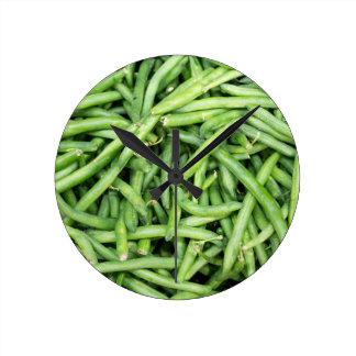 Organic Green Snap Beans Veggie Vegitarian Round Clock