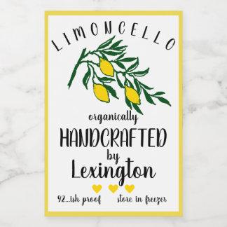 Organic Homemade Limoncello Small Bottle Label |