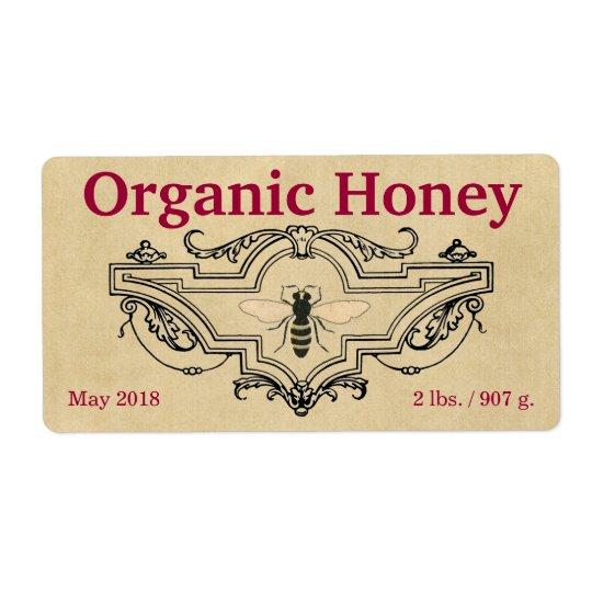 Organic Honey Bee Cartouche Shipping Label