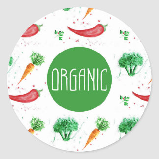 """""""Organic"""" label with vegetable frame Round Sticker"""