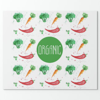 Organic label with watercolor vegetables