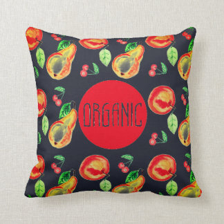 Organic lable on charming fruit background throw pillow