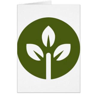 Organic Leaf Icon Button Greeting Card