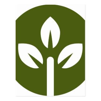 Organic Leaf Icon Button Postcard
