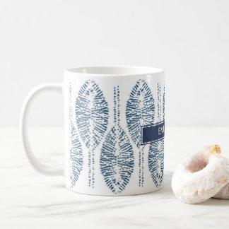 ORGANIC LEAF PATTERN INDIGO BLUE TIE DYE BATIK COFFEE MUG