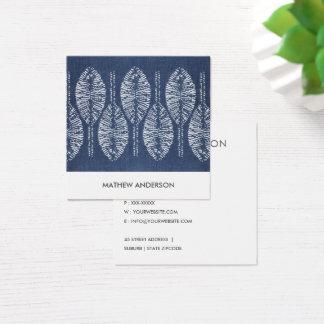 ORGANIC LEAF PATTERN INDIGO BLUE TIE DYE BATIK SQUARE BUSINESS CARD